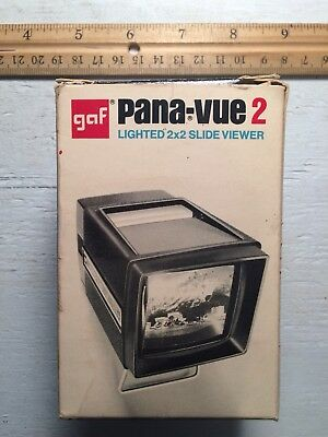 GAF Pana-Vue 2 Lighted 2x2 Slide Viewer For 35mm In Box
