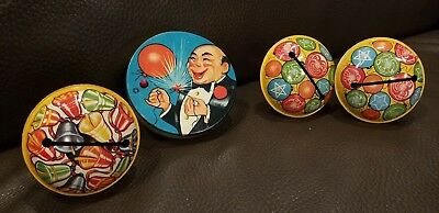 Vintage 1940s T Conn Cohn USA Tin Litho Noisemaker Lot of 4 New Years Clowns