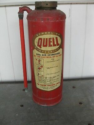 Collectable Vintage Quell Copper Brass Fire Extinguisher Display Industrial Type
