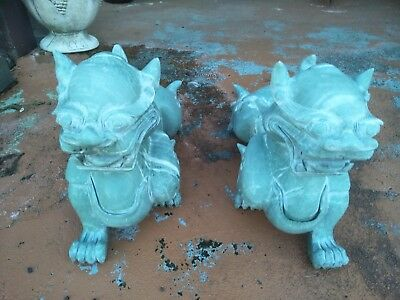Large Jade Foo dog statues 55 cm long 40 cm high