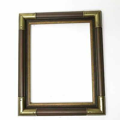 Vintage Mid-Century Brass Corners Dark Brown Frame fits 14x11 Artwork Painting