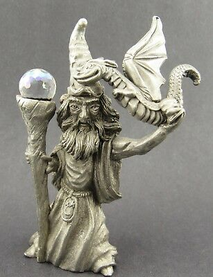 Spoontiques Pewter Wizard Dragon Trainer Figurine Statue Sculpture 1987 CMR595