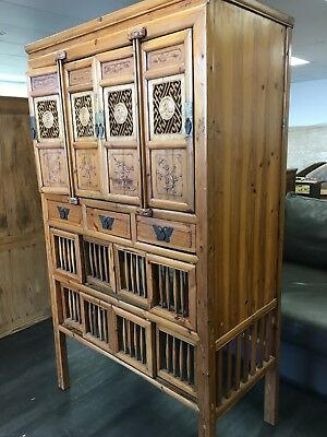 Antique Chinese cabinet/ food safe in elmwood. Excellent condition.