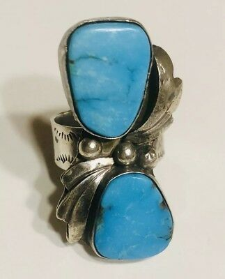 HUGE Native American Navajo Sterling Silver Turquoise ring.