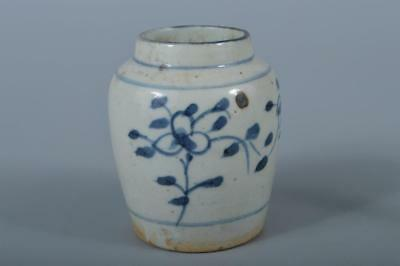 K5407: Chinese Pottery Blue&White Flower pattern TEA CADDY Chaire Container