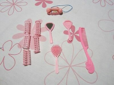 Barbie Vintage VTG MOD Pink hair curlers mirror comb brush cord phone accessory