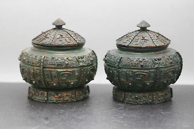 Pair Of Decorative Antique Chinese Bronze Archaic Urns Replica Made Of Resin