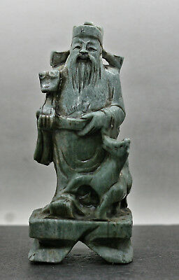 Stunning Antique Chinese Hand Carved Soapstone Statue Of God Of Wealth