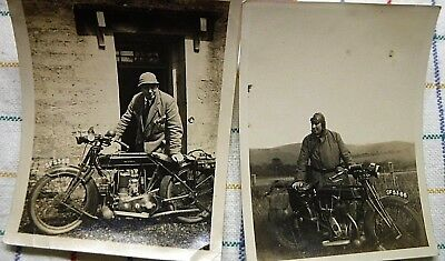 "Vintage 1929 SUNBEAM MOTORCYCLE Photos 2 Photographs  3.5"" x 4.5"" ORIGINAL"