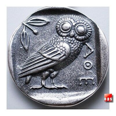 Sterling Silver Greek Goddess Athena Owl Coin Pendant Necklace Coin or W/ Chain