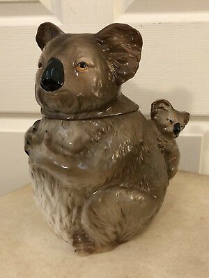 Vintage Gempo Australia Koala With Baby Cookie Jar Made In Japan Rare!