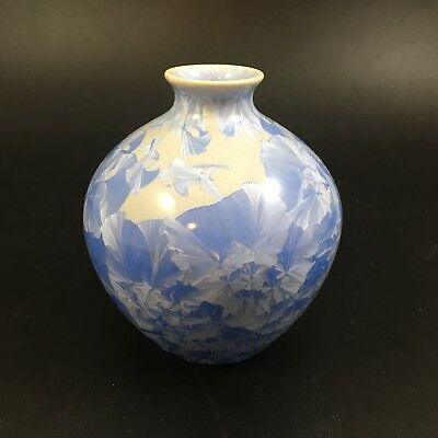 "Bevan Norkin Studios Crystalline Vase 4"" Light Blue Pottery VA"