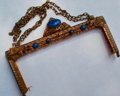 Gorgeous ANTIQUE Vintage BLUE JEWELED PURSE FRAME French VICTORIAN Flapper