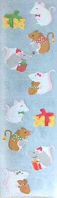 10 Strips Mrs Grossman`s HOLIDAY MICE Discontinued 2006 Stickers