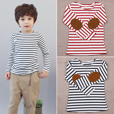 New Fashion Cute Kid Child Boy Casual Round Neck Long Sleeve Stripped Tops 2-7Y