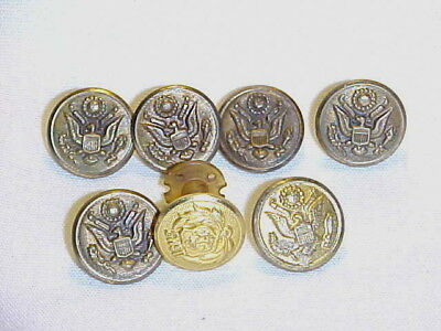 Lot of 6 Vintage Military Buttons & 1 Screw Back Badge Civil War? WW1? WW2?