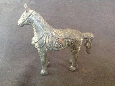 VINTAGE CHINESE CAST BRONZE 13cm LENGTH SADDLED HORSE