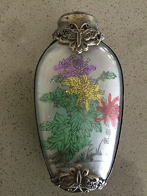 INTERNALLY PAINTED WHITE METAL BOUND BUTTERFLY FLOWER MOTIF 7.5cm SNUFF BOTTLE