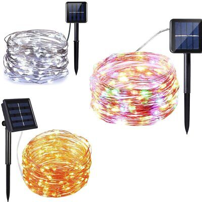 10/20M 66Ft 100/200LED Outdoor Solar Power Copper Wire Light String Fairy Party