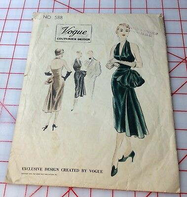 VTG Vogue 1950's Couturier Design 588 14/32 Label ORIGINAL One Piece Dress