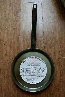 "Black Iron Cookware Frying Pan by Lune - 8"" / 200 mm Diameter Base"