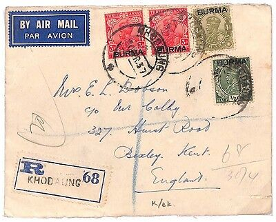 C80 1937 Burma Registered at *KHODAUNG* Scarce Origin Kent England Air Mail PTS