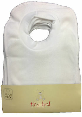 Brand New A Pack Of 7 Ex-Store Tiny Ted White Terry Towel Pop Over The Head Bibs