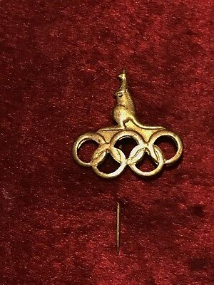 Vintage 1956 MELBOURNE OLYMPIC GAMES BADGE LAPEL PIN Goldtone Kangaroo on Rings
