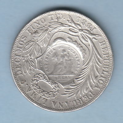 Guatemala-Countermarked Coinage. 1894 Peso (1/2 Real Die) on Peru 1885 Sol. gVF