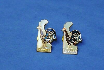 Lot Of 2 Vintage State Of DELAWARE Blue Hen Enamel Pins Souvenirs