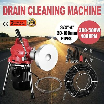 """Electric 3/4""""-4""""Dia Sectional Pipe Drain Cleaner Machine Snake Sewer Powerful"""