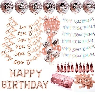 Rose Gold Happy Birthday Party Decor Bunting Banner Balloons 18/21/30/40/50/60th