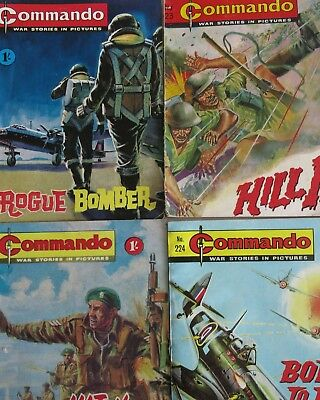 COMMANDO x 4 Rogue Bomber Hill 13 Born to Fly Hit the Beach War Stories c1960s
