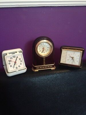 Clock JobLot Churchill Westclox Quartz Travel Alarm Mantle Small Untested Spares