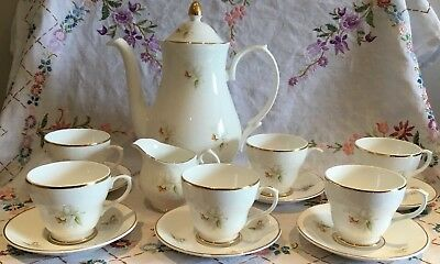 *pretty Vintage Kwai Orchid English Bone China Coffee Set With Pot*