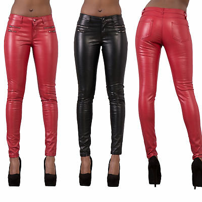 Ladies Women Wet Leather Look Leggings Sexy Trousers Slim Fit Jeans Size 6-14