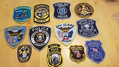 Michigan police 13 patch lot MSP Motorcycle Wayne County Sheriff Airport Radio
