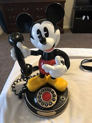 Disney Mickey Mouse Animated Telemania Dial Phone Working Condition Nice!