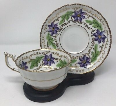 Royal CHELSEA Gold And Purple Flowers Tea Cup / Saucer Bone China ENGLAND 3961A