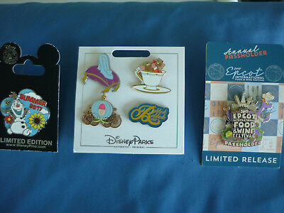 OLAF CINDERELLA  FIGMENT FOOD WINE  Disney Pin  LOT of 3 Cards 6 Pins  NEW