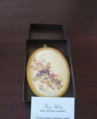 Real Suffolk Pressed Flowers Under Glass Signed  Art By Kay White Oval Frame