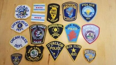 Illinois Police 17 Patch lot, ISP Chicago University Lake Zurich Wood River etc