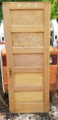 "30"" x 77 1/2"" Flat 5 panel pine bedroom door"