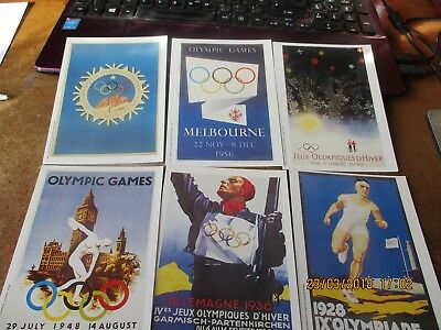 6 un-used postcards,mars olympic games posters 1991 issue