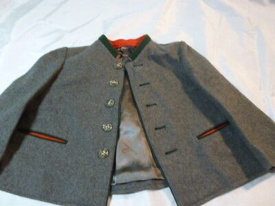 VTG 1950s Boys Trachten Jacket German Heritage Bavarian Loden Wool Antler Button