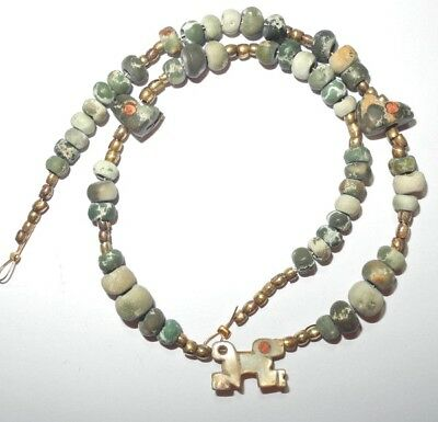 PRE COLUMBIAN  MOCHE culture JAGUAR NECKLACE - 200-1000 AD - SOLID 16 K GOLD COA