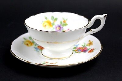 VTG Coalport England Fine China Cup & Saucer In Excellent Condition White Floral