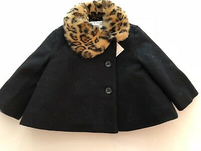 New Janie & Jack Black Dress Coat With Fur Collar Size 6-12 Months