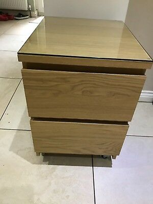 Ikea Malm Chest Of 2 Drawers In Oak Veneer On Wheels With Glass Top