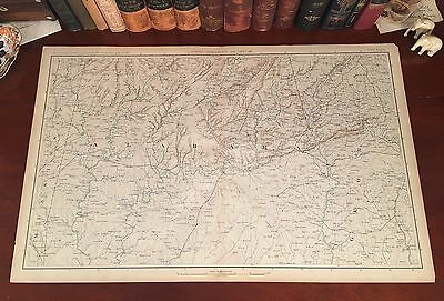 Original Antique Civil War Map GEORGIA ALABAMA Montgomery Opelika AL Columbus GA